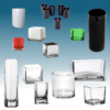Glassware, glass vases, glass squares